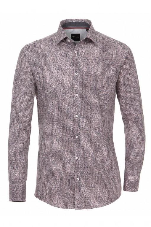 Venti Slim Fit Hemd Rot Print