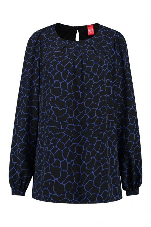 Only M - Bluse Spagna Black Cobalt