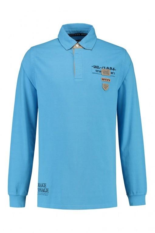 Kitaro Langarm Poloshirt - Pacific Blue