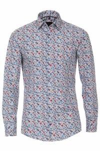 Venti Modern Fit Hemd - Blau/Rot Blumen