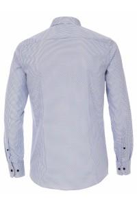 Venti Modern Fit Hemd - Muster Weiß/Blauw