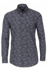 Venti Modern Fit Hemd - Dunkelblau Paisley