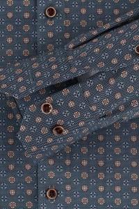 Venti Modern Fit Hemd - Blau/Beige Muster