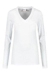 Highleytall - V-hals shirt lange mouw wit