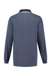 Kitaro Langarm Poloshirt - Blue Melange