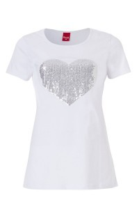 Only M - Heart Paillet T-Shirt Wit