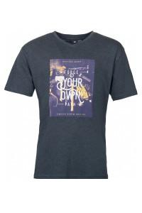Replika Jeans T-Shirt mit V-Ausschnitt - Forge Dunkelgrau