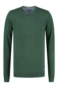 Kitaro Pullover - Basic V-Ausschnitt Grün
