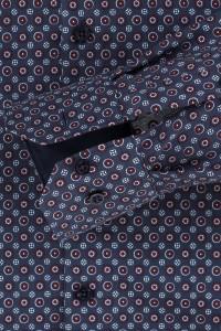 Venti Modern Fit Hemd - Dunkelblau Print