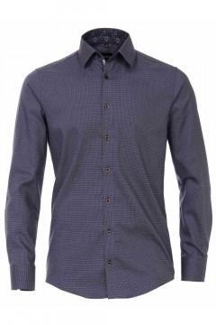 Venti Modern Fit Hemd - Dunkelblau Weben-Muster