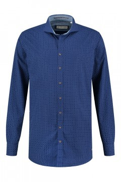 Blue Crane Tailored Fit Hemd - Dunkelblau/Muster