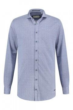 Blue Crane Slim Fit Hemd - Blau Melange