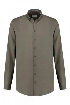 Blue Crane Slim Fit Hemd - Leinen Dunkelgrün