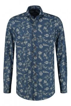 Ledûb Modern Fit Hemd - Blau Floral