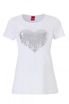 Only M - Herz Paillet T-Shirt Weiß