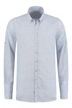 Blue Crane Slim Fit Hemd - Leinen Blau Gestreift