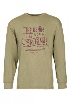 Replika Jeans - Langarm T-shirt Denim Workers Armeegrün