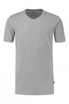 Kitaro T-Shirt - Basic V-Ausschnitt Grau Gemischt