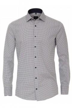 Venti Modern Fit Hemd - Muster Weiß/Grau