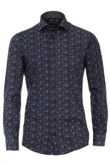 Venti Modern Fit Hemd - Dunkelblau/Weiß Muster