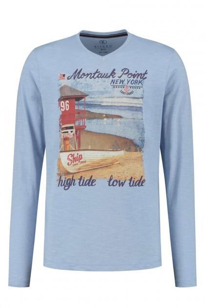 Kitaro Langarm T-Shirt - Montauk Blau