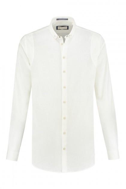 Blue Crane Slim Fit Hemd - Leinen Weiß