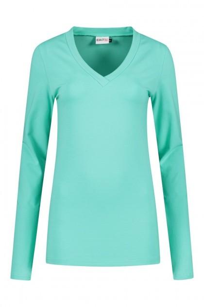 Highleytall - V-Ausschnitt Langarmshirt Seegrün
