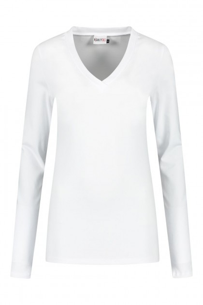 Highleytall - V-Ausschnitt Langarmshirt Weiß