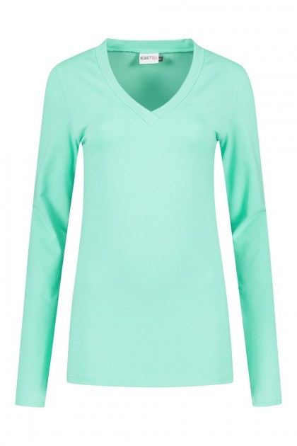 Highleytall - V-Ausschnitt Langarmshirt Minzgrün