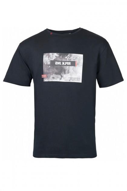 Replika Jeans T-Shirt - Print Schwarz