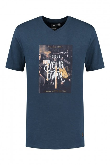 Replika Jeans T-Shirt mit V-Ausschnitt - Forge Navy