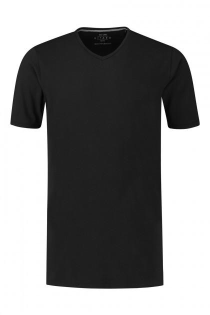 Kitaro T-Shirt - Basic V-Ausschnitt Schwarz