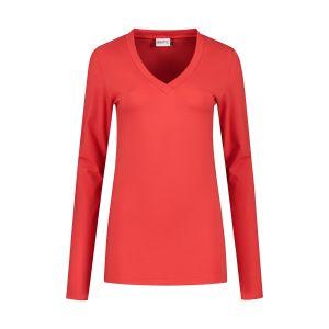 Highleytall - V-Ausschnitt Langarmshirt Rot