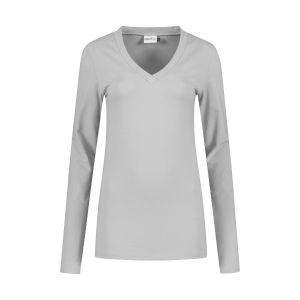 Highleytall - V-Ausschnitt Langarmshirt Grau