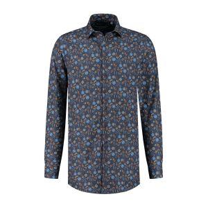 Ledûb Modern Fit Hemd - Dunkelblau Muster