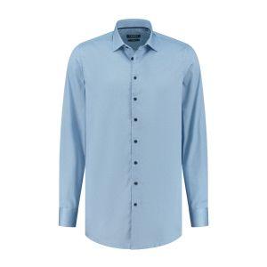 Ledûb Modern Fit Hemd - Blau/Weiß Meliert