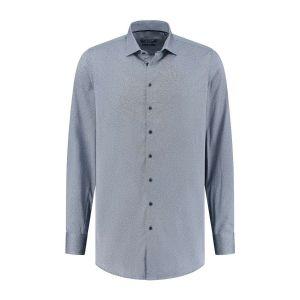 Ledûb Modern Fit Hemd - Dunkelblau/Weiß Meliert