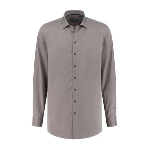 Ledûb Modern Fit Hemd - Braun/Weiß Meliert