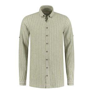 Blue Crane Slim Fit Hemd - Leinen Hellgrün