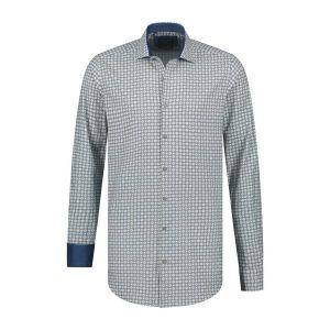 Corrino Hemd - Muster Blau/Gelb